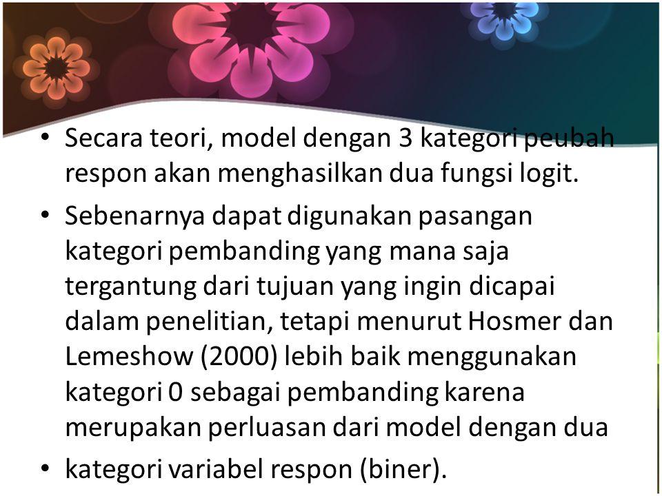Secara teori, model dengan 3 kategori peubah respon akan menghasilkan dua fungsi logit.