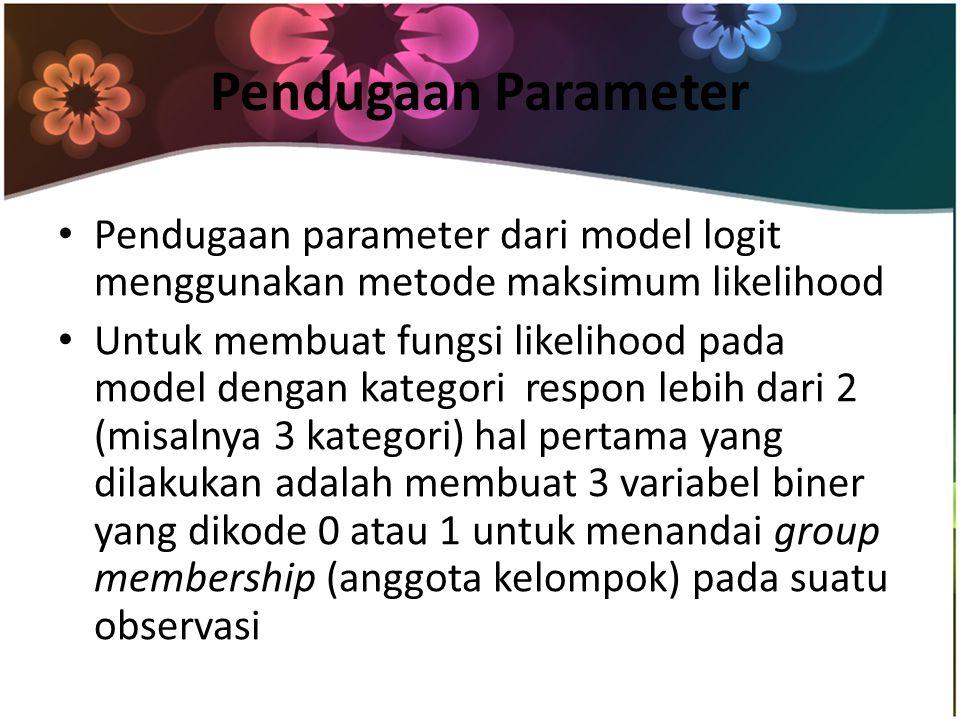 Pendugaan Parameter Pendugaan parameter dari model logit menggunakan metode maksimum likelihood Untuk membuat fungsi likelihood pada model dengan kategori respon lebih dari 2 (misalnya 3 kategori) hal pertama yang dilakukan adalah membuat 3 variabel biner yang dikode 0 atau 1 untuk menandai group membership (anggota kelompok) pada suatu observasi