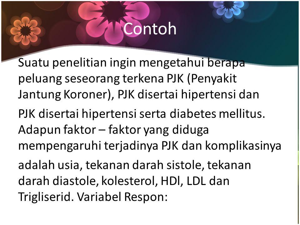 Contoh Suatu penelitian ingin mengetahui berapa peluang seseorang terkena PJK (Penyakit Jantung Koroner), PJK disertai hipertensi dan PJK disertai hipertensi serta diabetes mellitus.
