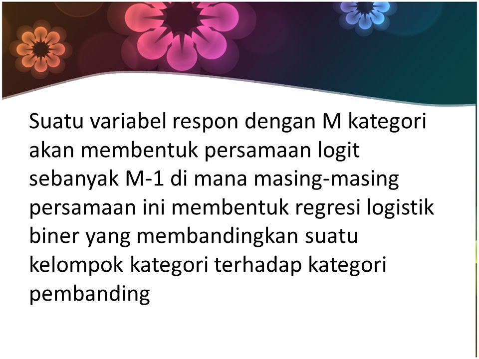 Suatu variabel respon dengan M kategori akan membentuk persamaan logit sebanyak M-1 di mana masing-masing persamaan ini membentuk regresi logistik bin