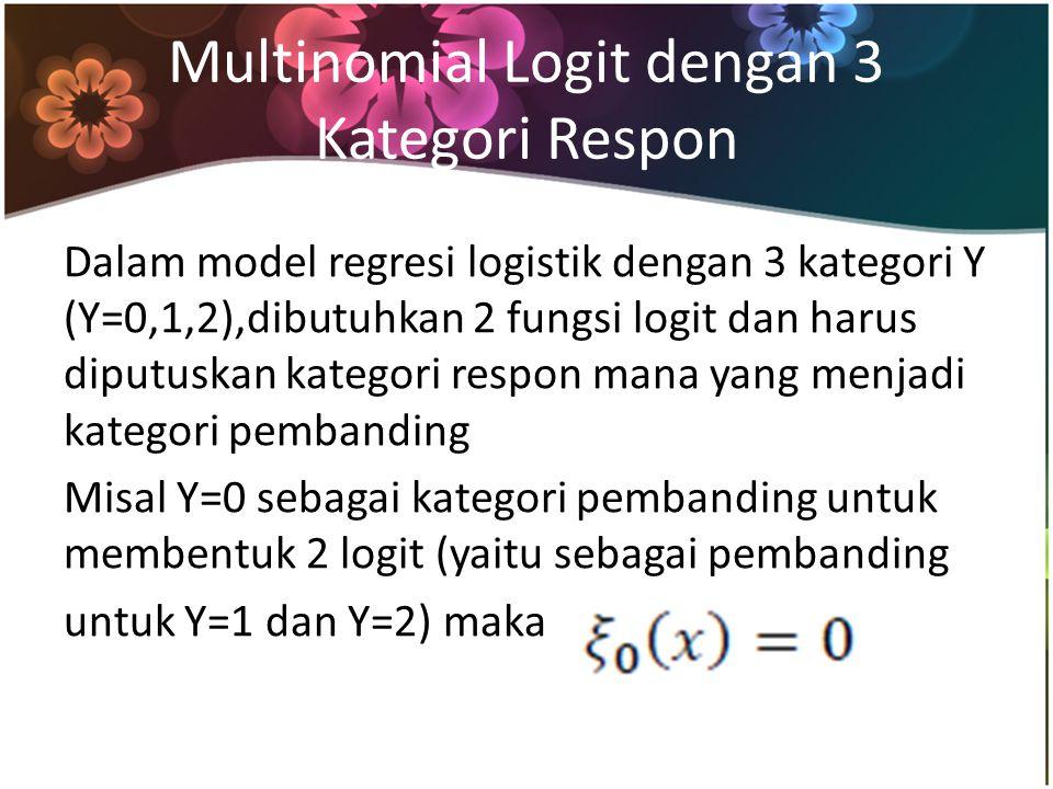 Multinomial Logit dengan 3 Kategori Respon Dalam model regresi logistik dengan 3 kategori Y (Y=0,1,2),dibutuhkan 2 fungsi logit dan harus diputuskan kategori respon mana yang menjadi kategori pembanding Misal Y=0 sebagai kategori pembanding untuk membentuk 2 logit (yaitu sebagai pembanding untuk Y=1 dan Y=2) maka