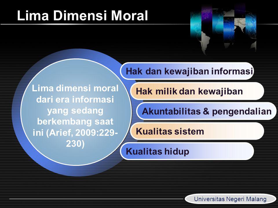 LOGO www.themegallery.com Lima Dimensi Moral Hak dan kewajiban informasi Hak milik dan kewajiban Akuntabilitas & pengendalian Kualitas sistem Kualitas