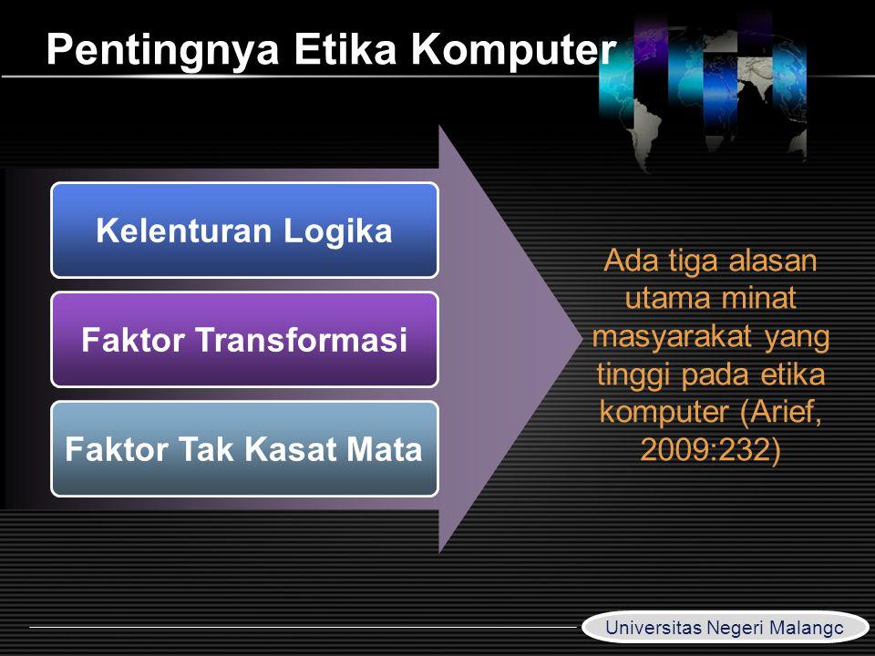 LOGO www.themegallery.com Pentingnya Etika Komputer Kelenturan Logika Faktor Transformasi Faktor Tak Kasat Mata Ada tiga alasan utama minat masyarakat