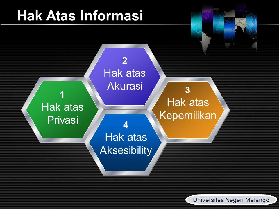 LOGO www.themegallery.com Hak Atas Informasi 2 Hak atas Akurasi 1 Hak atas Privasi 3 Hak atas Kepemilikan 4 Hak atas Aksesibility Universitas Negeri M