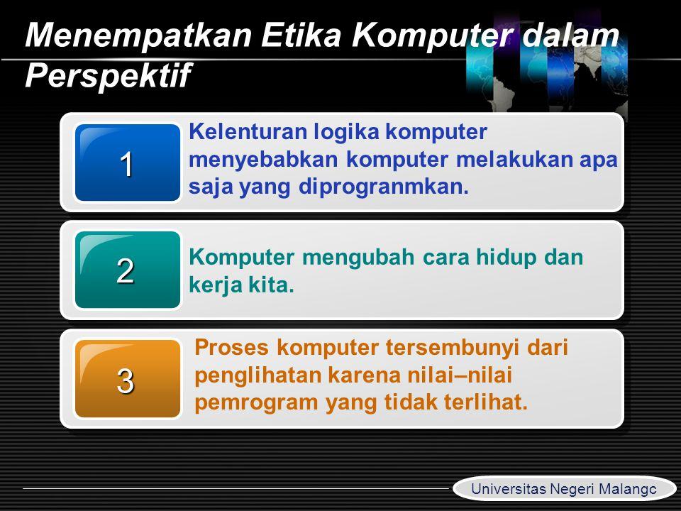 LOGO www.themegallery.com Menempatkan Etika Komputer dalam Perspektif 1 Kelenturan logika komputer menyebabkan komputer melakukan apa saja yang diprog