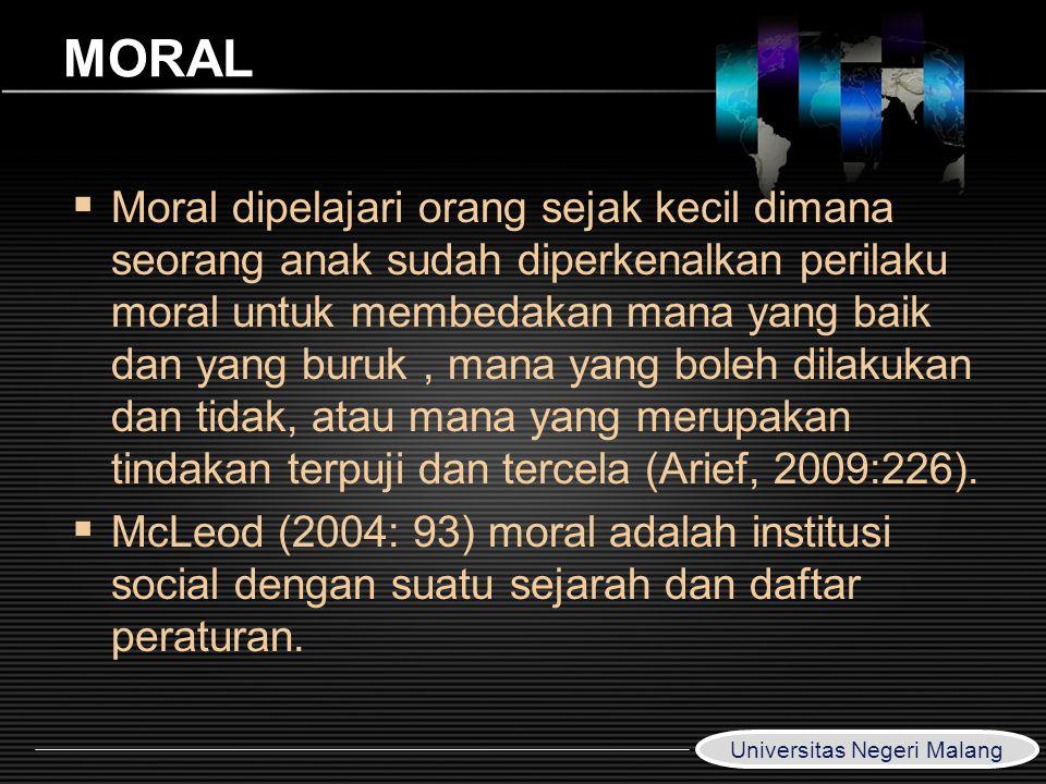 LOGO MORAL  Moral dipelajari orang sejak kecil dimana seorang anak sudah diperkenalkan perilaku moral untuk membedakan mana yang baik dan yang buruk,