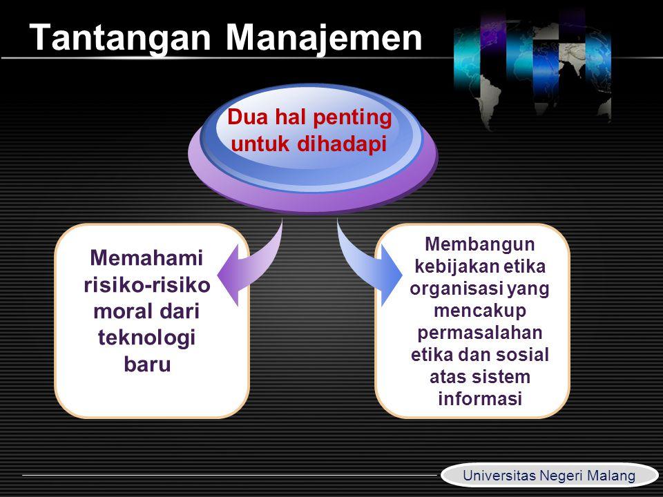LOGO www.themegallery.com Tantangan Manajemen Memahami risiko-risiko moral dari teknologi baru Dua hal penting untuk dihadapi Membangun kebijakan etik