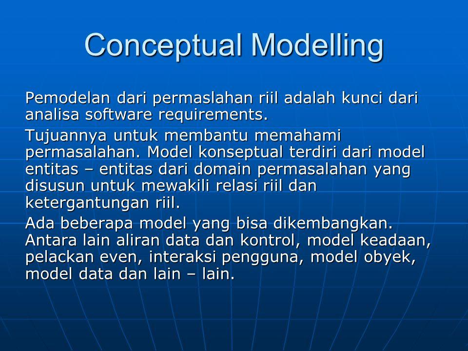 Conceptual Modelling Pemodelan dari permaslahan riil adalah kunci dari analisa software requirements. Tujuannya untuk membantu memahami permasalahan.