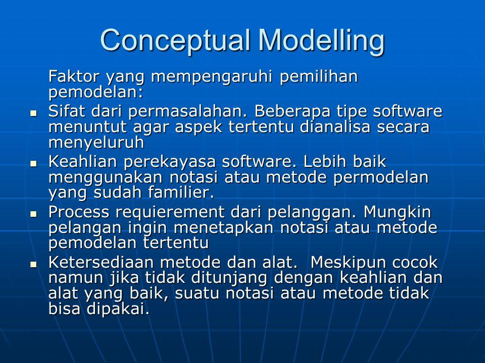 Conceptual Modelling Faktor yang mempengaruhi pemilihan pemodelan: Sifat dari permasalahan. Beberapa tipe software menuntut agar aspek tertentu dianal