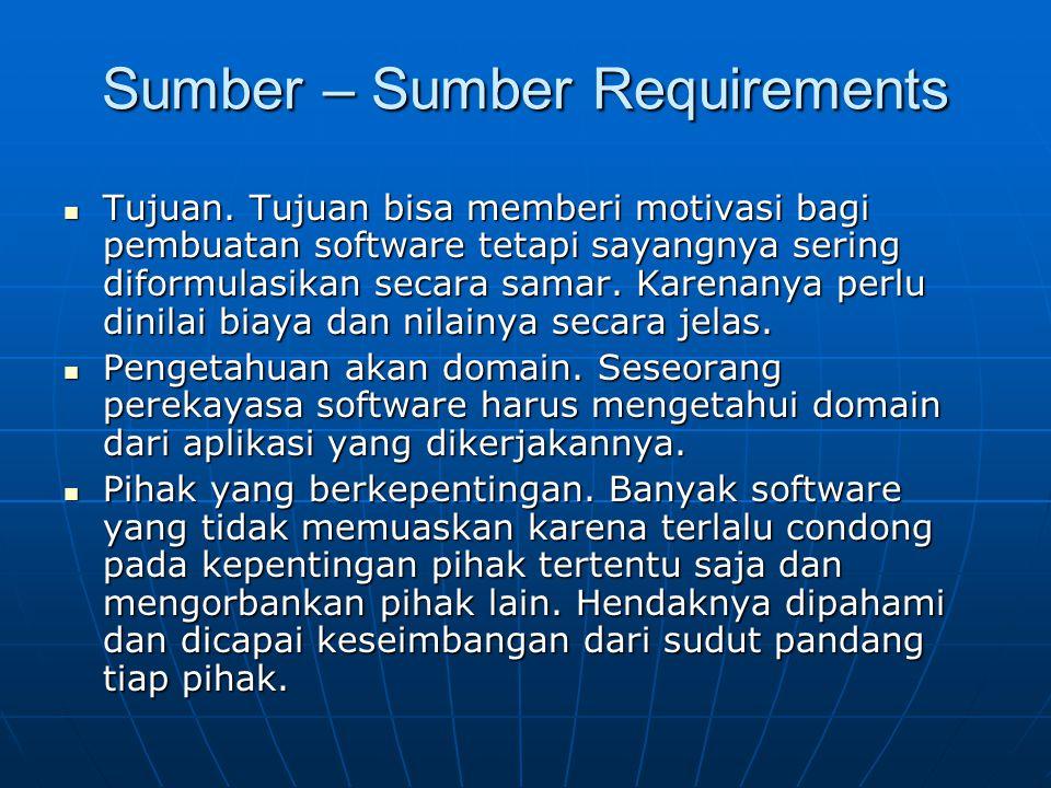 Sumber – Sumber Requirements Tujuan. Tujuan bisa memberi motivasi bagi pembuatan software tetapi sayangnya sering diformulasikan secara samar. Karenan