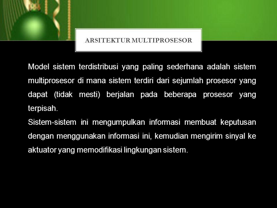 ARSITEKTUR MULTIPROSESOR Model sistem terdistribusi yang paling sederhana adalah sistem multiprosesor di mana sistem terdiri dari sejumlah prosesor ya