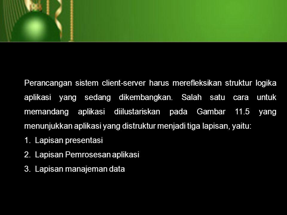 Perancangan sistem client-server harus merefleksikan struktur logika aplikasi yang sedang dikembangkan. Salah satu cara untuk memandang aplikasi diilu