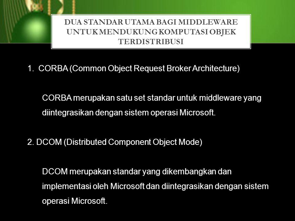 DUA STANDAR UTAMA BAGI MIDDLEWARE UNTUK MENDUKUNG KOMPUTASI OBJEK TERDISTRIBUSI 1.CORBA (Common Object Request Broker Architecture) CORBA merupakan sa