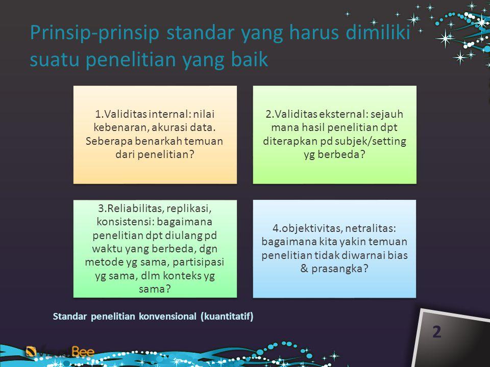 Prinsip-prinsip standar yang harus dimiliki suatu penelitian yang baik 2 1.Validitas internal: nilai kebenaran, akurasi data.