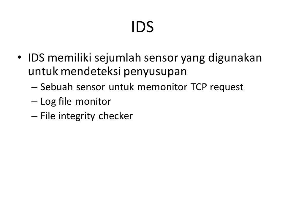 IDS IDS memiliki sejumlah sensor yang digunakan untuk mendeteksi penyusupan – Sebuah sensor untuk memonitor TCP request – Log file monitor – File inte