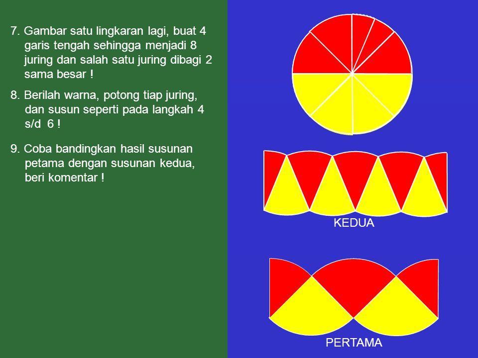 7. Gambar satu lingkaran lagi, buat 4 garis tengah sehingga menjadi 8 juring dan salah satu juring dibagi 2 sama besar ! 8. Berilah warna, potong tiap
