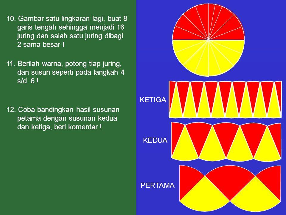 10. Gambar satu lingkaran lagi, buat 8 garis tengah sehingga menjadi 16 juring dan salah satu juring dibagi 2 sama besar ! 12. Coba bandingkan hasil s