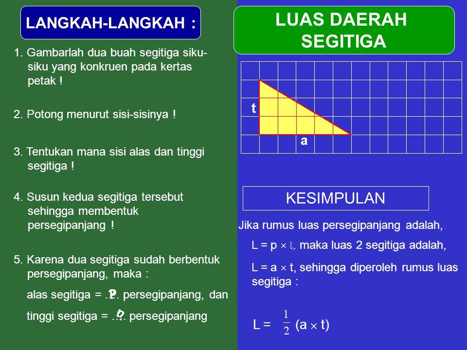 LANGKAH-LANGKAH : 1. Gambarlah dua buah segitiga siku- siku yang konkruen pada kertas petak ! 4. Susun kedua segitiga tersebut sehingga membentuk pers
