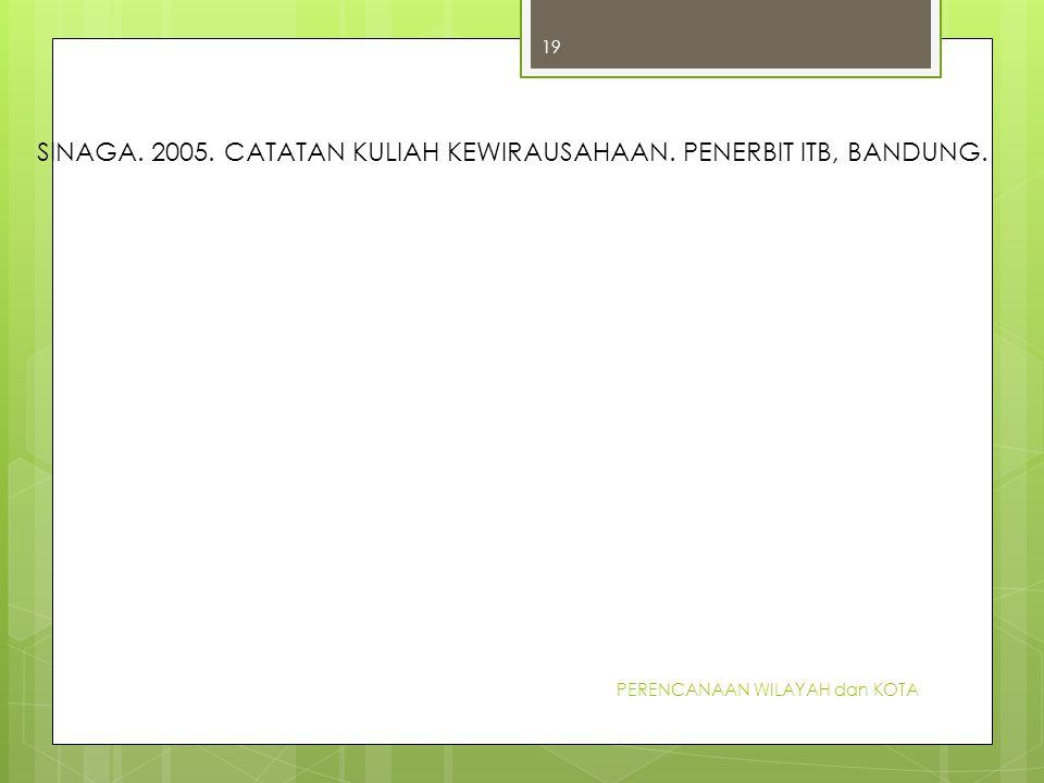 PERENCANAAN WILAYAH dan KOTA 19 SINAGA. 2005. CATATAN KULIAH KEWIRAUSAHAAN. PENERBIT ITB, BANDUNG.