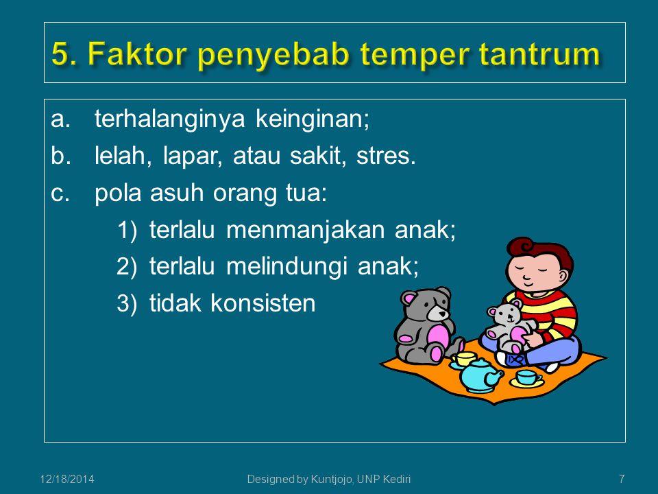 a.terhalanginya keinginan; b.lelah, lapar, atau sakit, stres.