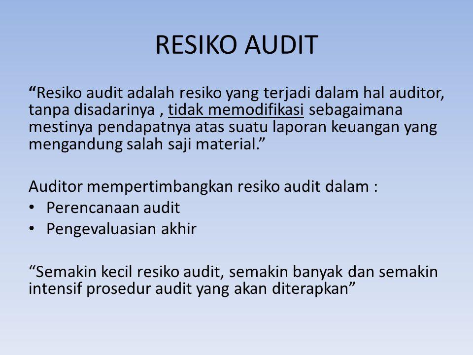 """RESIKO AUDIT """"Resiko audit adalah resiko yang terjadi dalam hal auditor, tanpa disadarinya, tidak memodifikasi sebagaimana mestinya pendapatnya atas s"""