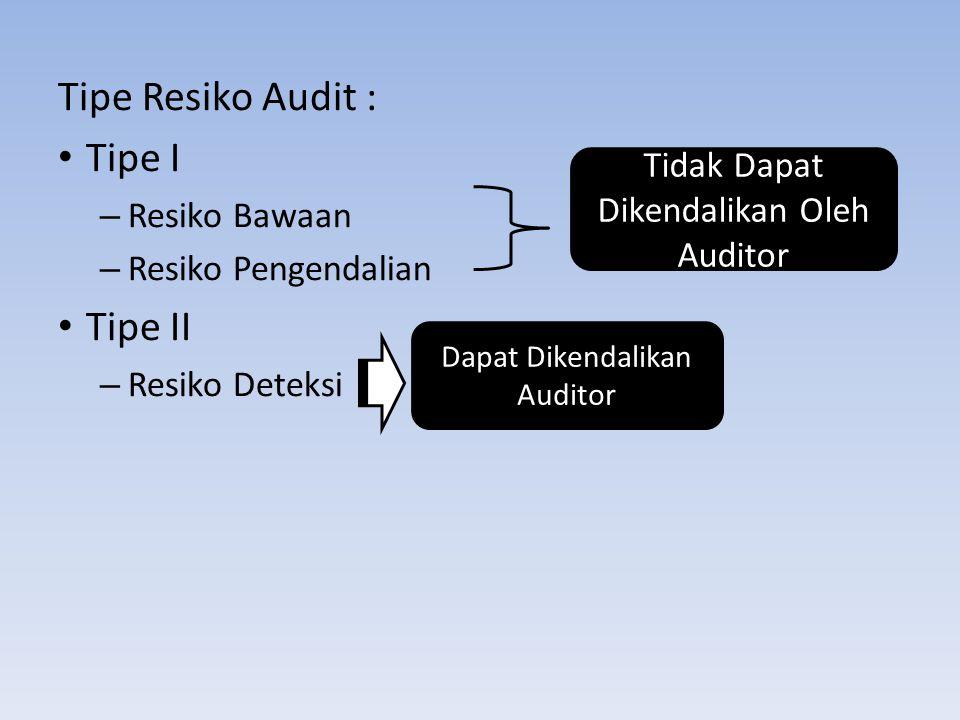 Tipe Resiko Audit : Tipe I –R–Resiko Bawaan –R–Resiko Pengendalian Tipe II –R–Resiko Deteksi Tidak Dapat Dikendalikan Oleh Auditor Dapat Dikendalikan