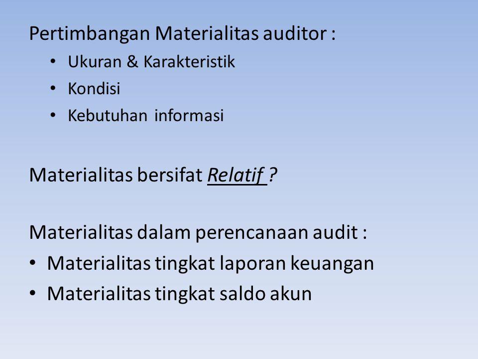 Pertimbangan Materialitas auditor : Ukuran & Karakteristik Kondisi Kebutuhan informasi Materialitas bersifat Relatif ? Materialitas dalam perencanaan
