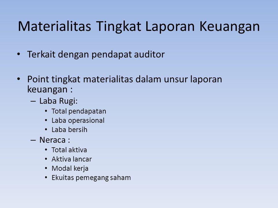 Materialitas Tingkat Laporan Keuangan Terkait dengan pendapat auditor Point tingkat materialitas dalam unsur laporan keuangan : –L–Laba Rugi: Total pe