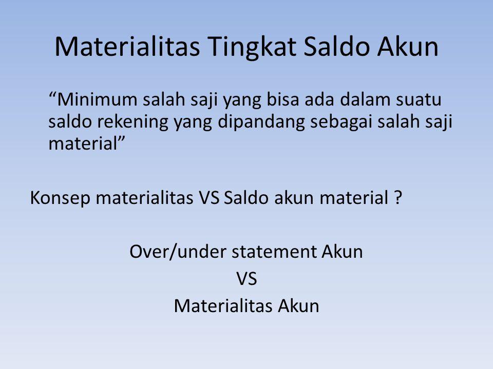 """Materialitas Tingkat Saldo Akun """"Minimum salah saji yang bisa ada dalam suatu saldo rekening yang dipandang sebagai salah saji material"""" Konsep materi"""