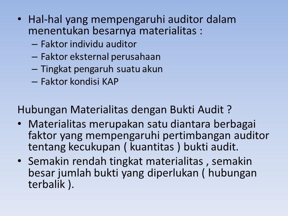 Hal-hal yang mempengaruhi auditor dalam menentukan besarnya materialitas : – Faktor individu auditor – Faktor eksternal perusahaan – Tingkat pengaruh