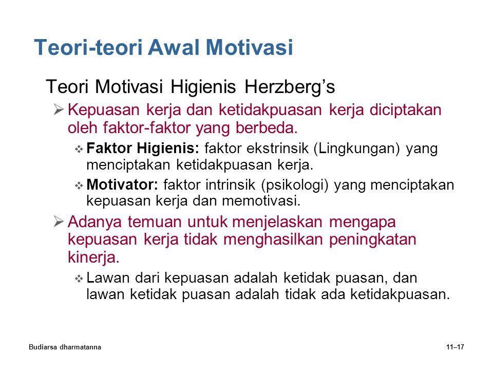 Budiarsa dharmatanna11–17 Teori-teori Awal Motivasi Teori Motivasi Higienis Herzberg's  Kepuasan kerja dan ketidakpuasan kerja diciptakan oleh faktor-faktor yang berbeda.