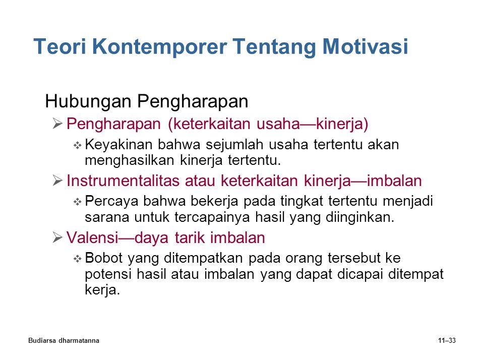 Budiarsa dharmatanna11–33 Teori Kontemporer Tentang Motivasi Hubungan Pengharapan  Pengharapan (keterkaitan usaha—kinerja)  Keyakinan bahwa sejumlah usaha tertentu akan menghasilkan kinerja tertentu.