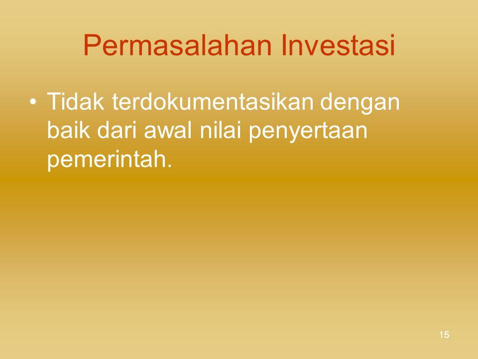 14 INVESTASI JANGKA PANJANG Klasifikasi: Investasi Non-Permanen dan Investasi Permanen Penilaian: - Non-Permanen: nilai bersih yang dapat direalisasik