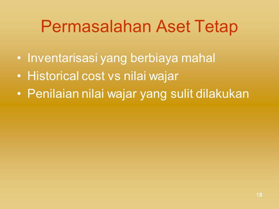 17 ASET TETAP (2) - Jalan&Irigasi: nilai wajar berdasar standar biaya yang dikeluarkan oleh instansi pemerintah yang berwenang - Aset Tetap Lainnya: h