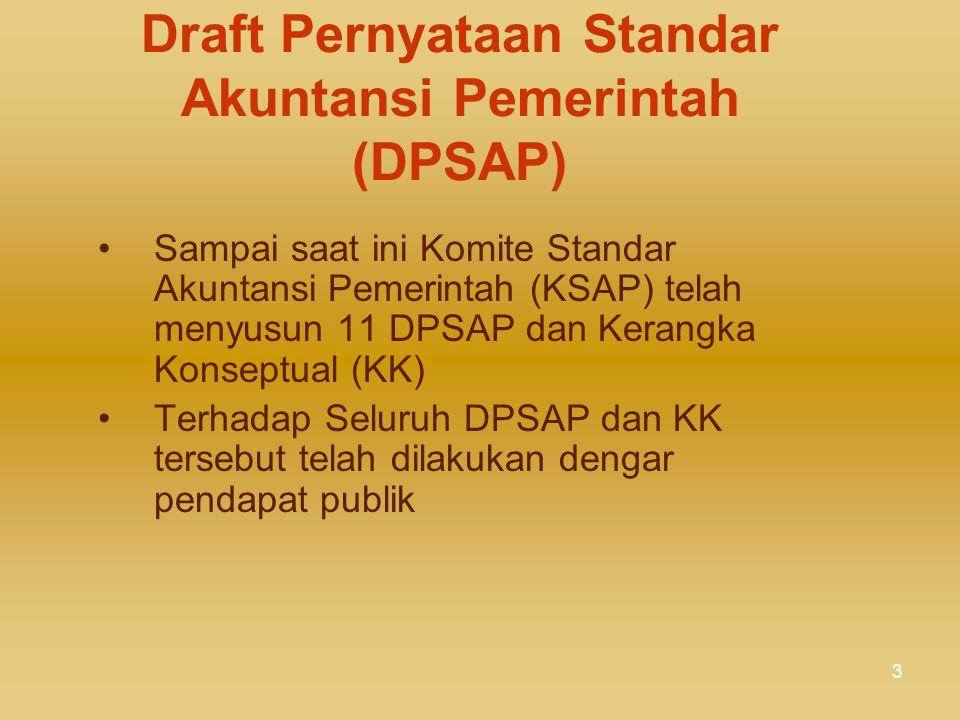3 Draft Pernyataan Standar Akuntansi Pemerintah (DPSAP) Sampai saat ini Komite Standar Akuntansi Pemerintah (KSAP) telah menyusun 11 DPSAP dan Kerangka Konseptual (KK) Terhadap Seluruh DPSAP dan KK tersebut telah dilakukan dengar pendapat publik