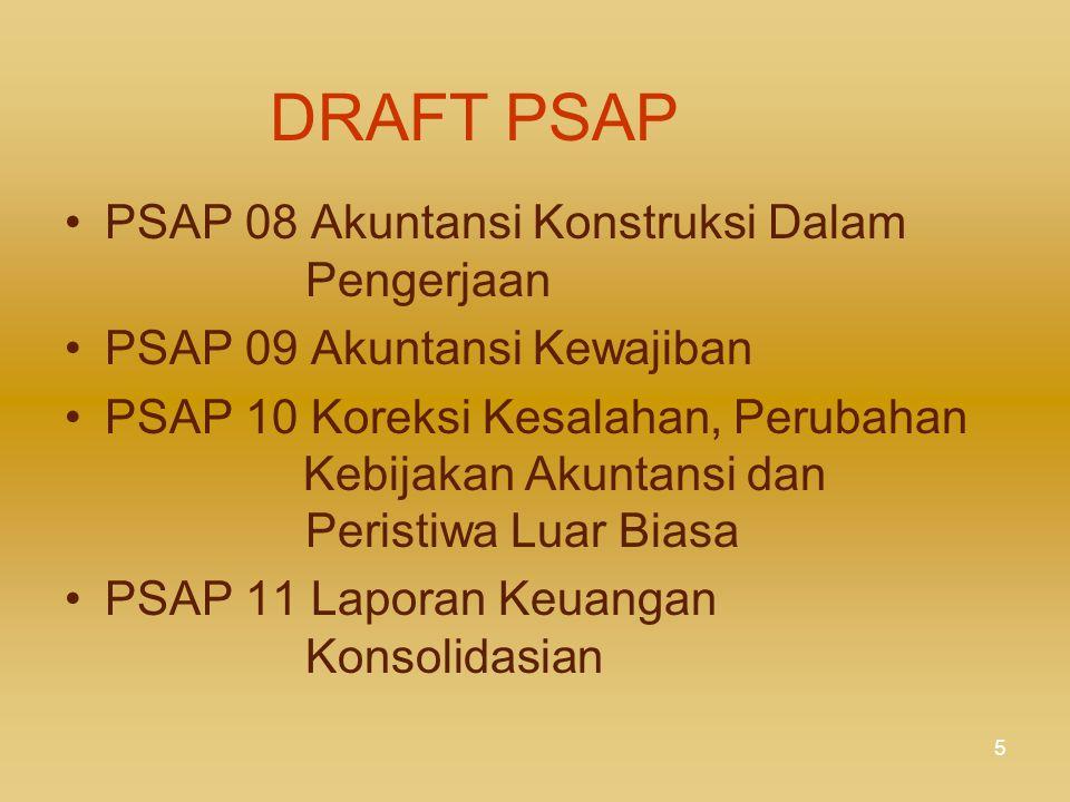 4 DRAFT PSAP Kerangka Konseptual PSAP 01 Penyajian Laporan Keuangan PSAP 02 Laporan Realisasi Anggaran PSAP 03 Laporan Arus Kas PSAP 04 Catatan atas L