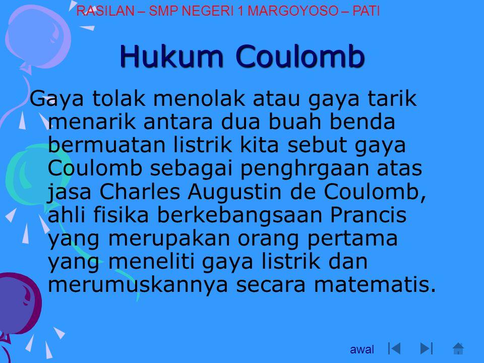 Hukum Coulomb Gaya tolak menolak atau gaya tarik menarik antara dua buah benda bermuatan listrik kita sebut gaya Coulomb sebagai penghrgaan atas jasa