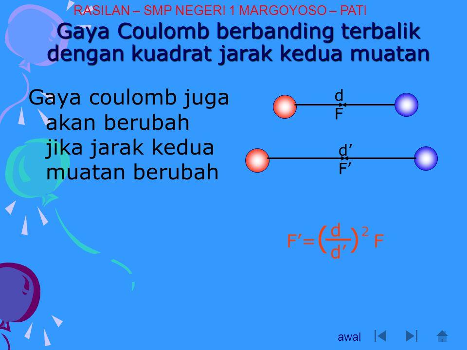 Gaya Coulomb berbanding terbalik dengan kuadrat jarak kedua muatan Gaya coulomb juga akan berubah jika jarak kedua muatan berubah dFdF d' F' F'= ( ) F