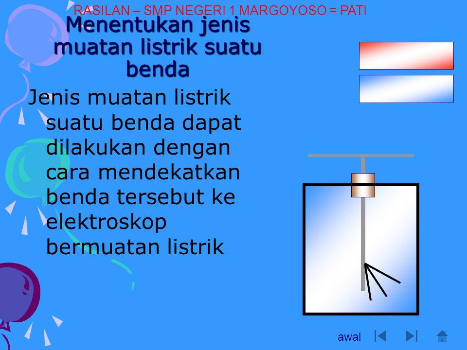 Menentukan jenis muatan listrik suatu benda Jenis muatan listrik suatu benda dapat dilakukan dengan cara mendekatkan benda tersebut ke elektroskop ber