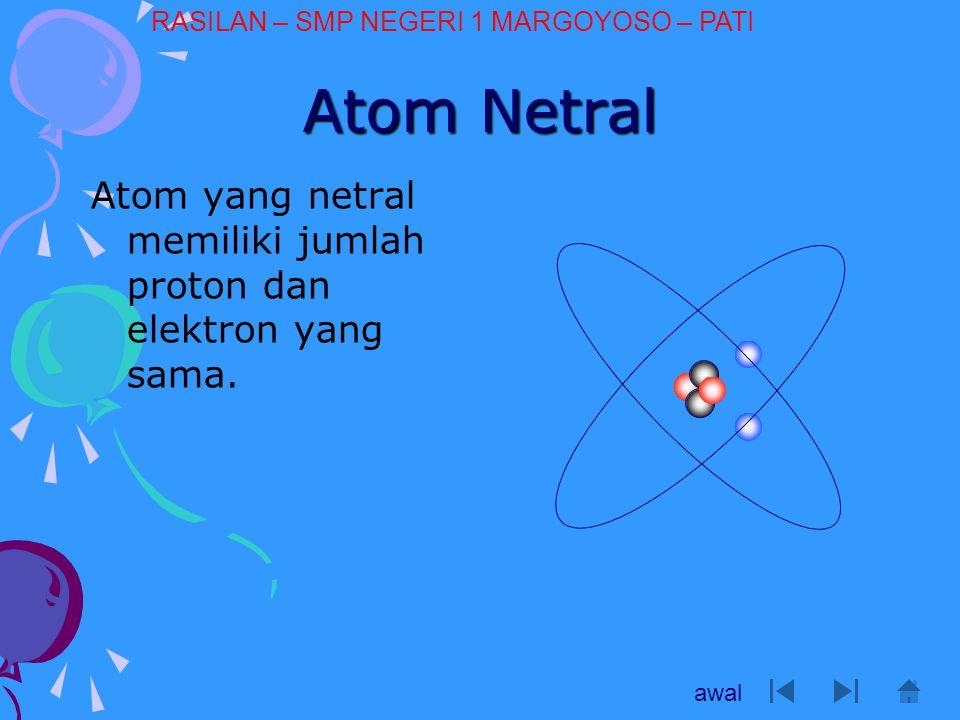 Atom Negatif Bila suatu atom mendapat tambahan elektron dari atom lain, maka atom ersebut menjadi kelebihan elektron Atom menjadi bermuatan negatip awal RASILAN – SMP NEGERI 1 MARGOYOSO – PATI