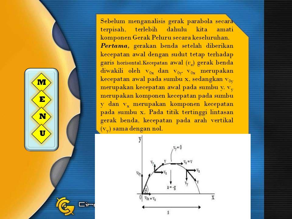 Sebelum menganalisis gerak parabola secara terpisah, terlebih dahulu kita amati komponen Gerak Peluru secara keseluruhan. Pertama, gerakan benda setel