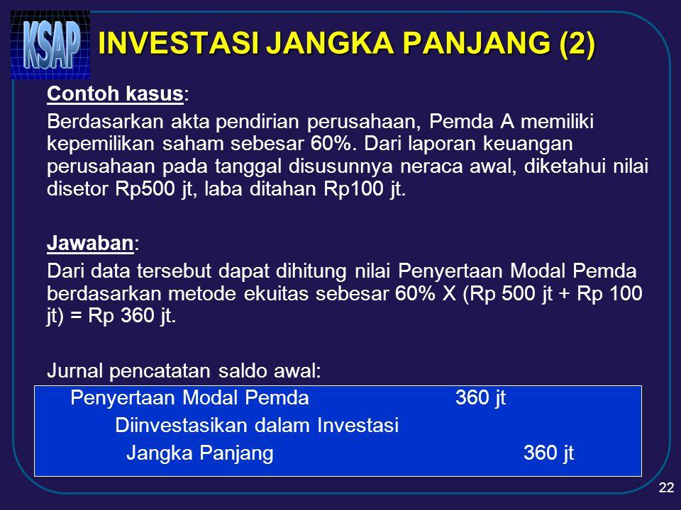 21 INVESTASI JANGKA PANJANG (1)  INVESTASI NONPERMANEN  Investasi dalam Dana Bergulir  Investasi dalam Obligasi/SUN  Investasi dalam Penyertaan Modal pada Proyek Pembangunan  INVESTASI PERMANEN  Penyertaan Modal Pemerintah Daerah  Investasi Permanen Lainnya