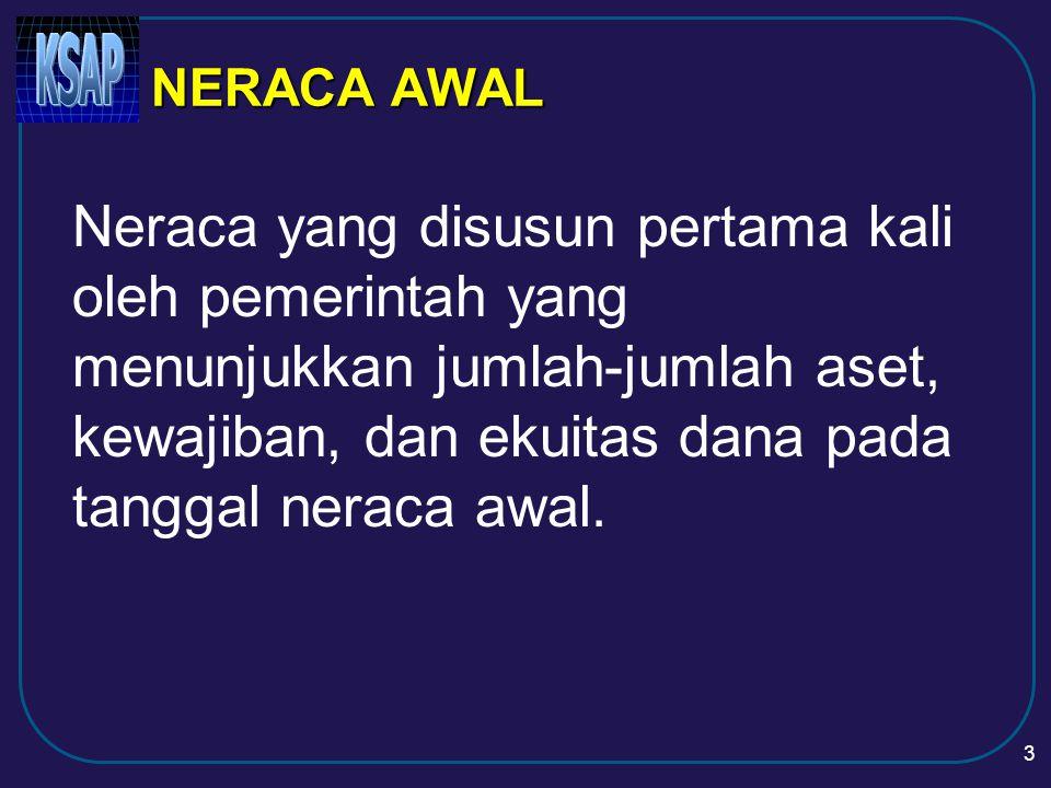 3 NERACA AWAL Neraca yang disusun pertama kali oleh pemerintah yang menunjukkan jumlah-jumlah aset, kewajiban, dan ekuitas dana pada tanggal neraca awal.