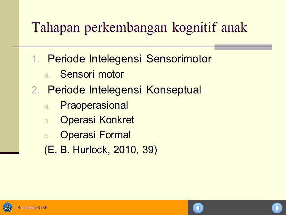 Sosialisasi KTSP Tahapan perkembangan kognitif anak 1. Periode Intelegensi Sensorimotor a. Sensori motor 2. Periode Intelegensi Konseptual a. Praopera