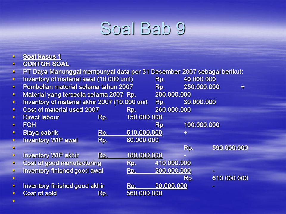 Soal Bab 9  Soal kasus 1  CONTOH SOAL  PT Daya Manunggal mempunyai data per 31 Desember 2007 sebagai berikut:  Inventory of material awal (10.000