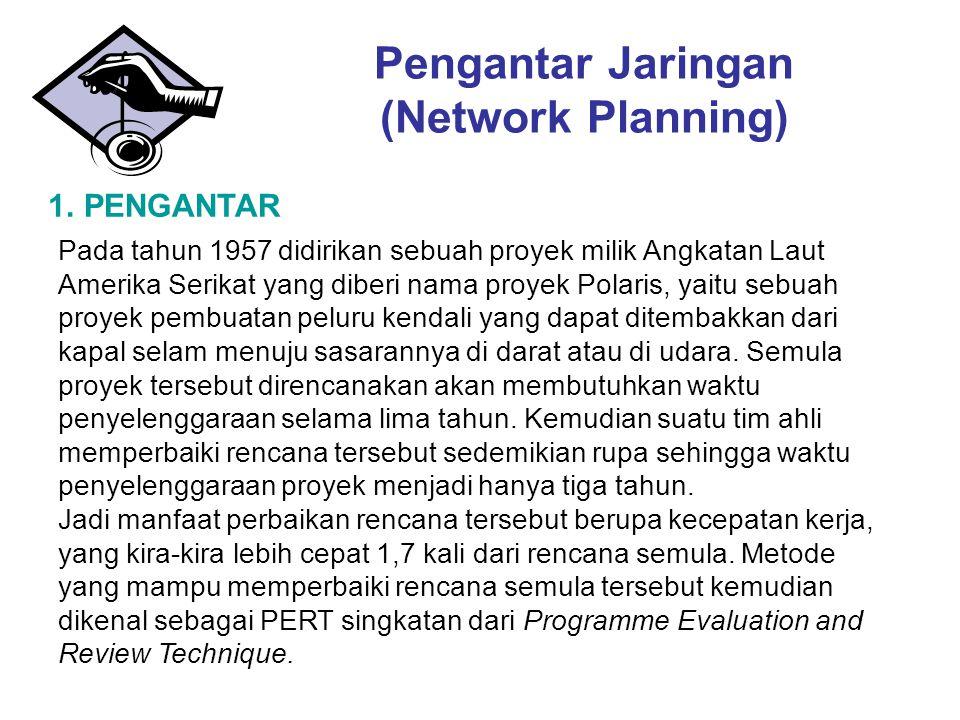 Pengantar Jaringan (Network Planning) 1. PENGANTAR Pada tahun 1957 didirikan sebuah proyek milik Angkatan Laut Amerika Serikat yang diberi nama proyek