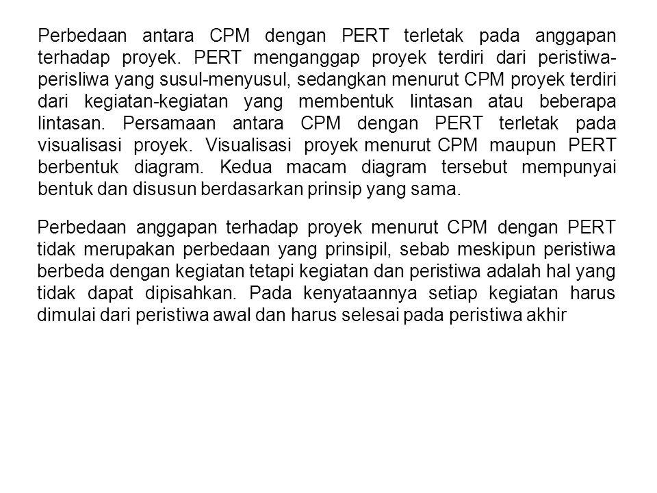 Perbedaan antara CPM dengan PERT terletak pada anggapan terhadap proyek. PERT menganggap proyek terdiri dari peristiwa- perisliwa yang susul-menyusul,