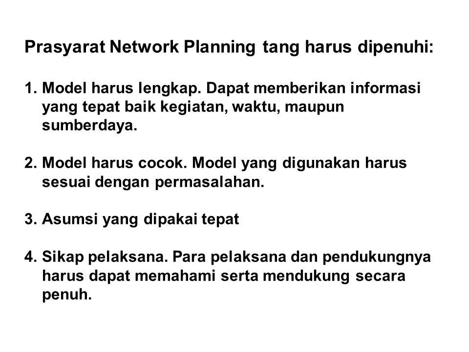 Prasyarat Network Planning tang harus dipenuhi: 1.Model harus lengkap. Dapat memberikan informasi yang tepat baik kegiatan, waktu, maupun sumberdaya.