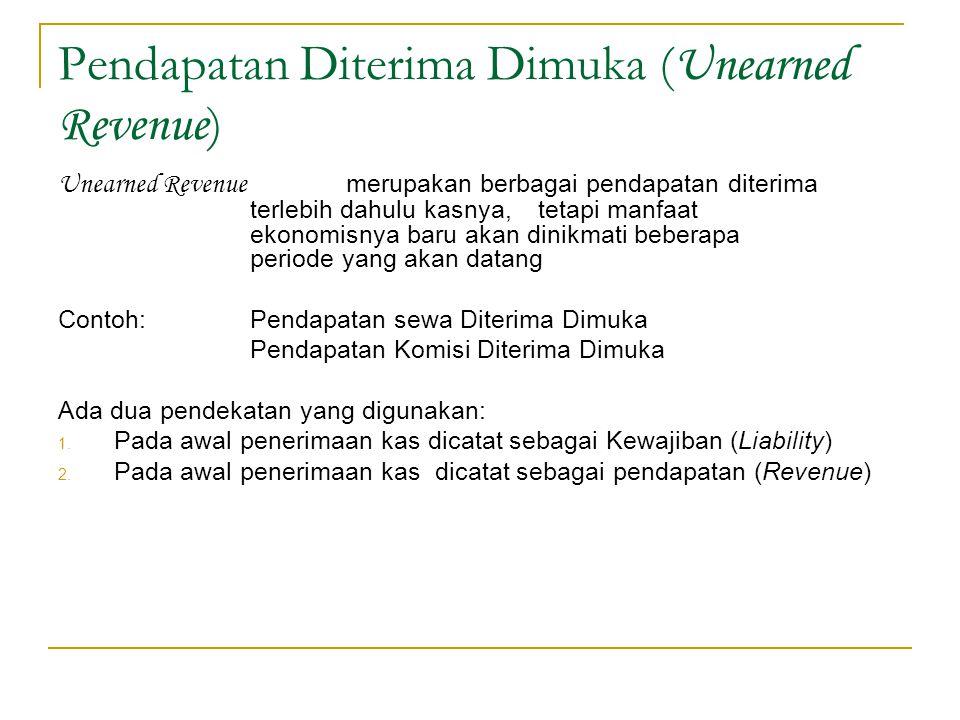Pendapatan Diterima Dimuka ( Unearned Revenue ) Unearned Revenue merupakan berbagai pendapatan diterima terlebih dahulu kasnya,tetapi manfaat ekonomis