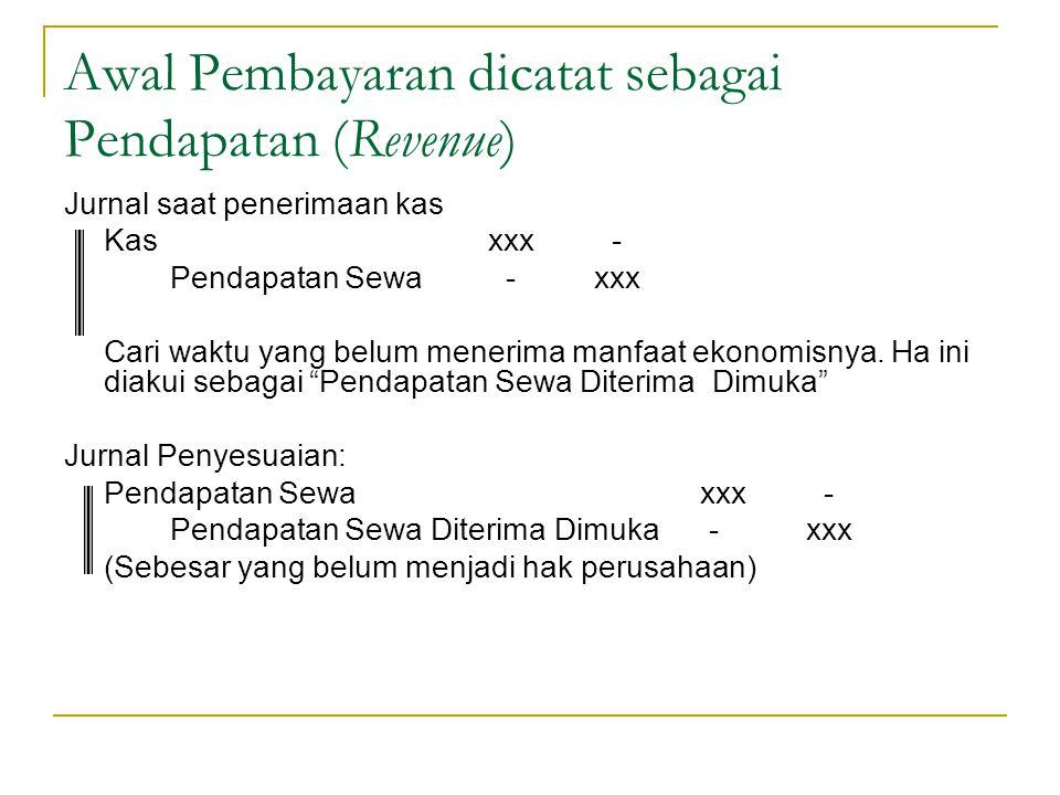 Awal Pembayaran dicatat sebagai Pendapatan (Revenue) Jurnal saat penerimaan kas Kasxxx - Pendapatan Sewa -xxx Cari waktu yang belum menerima manfaat e